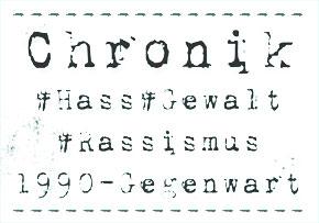 Banner Chronik #Hass #Gewalt #Rassismus 1990 - Gegenwart